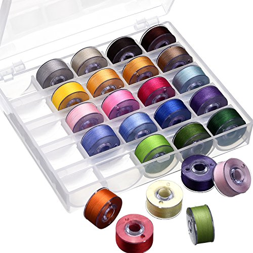 eBoot Bobbin Case Organizer with 25 Clear Sewing Machine Bobbins and Assorted Colors Sewing Thread for Brother/ Babylock/ Janome/ Kenmore/ Singer