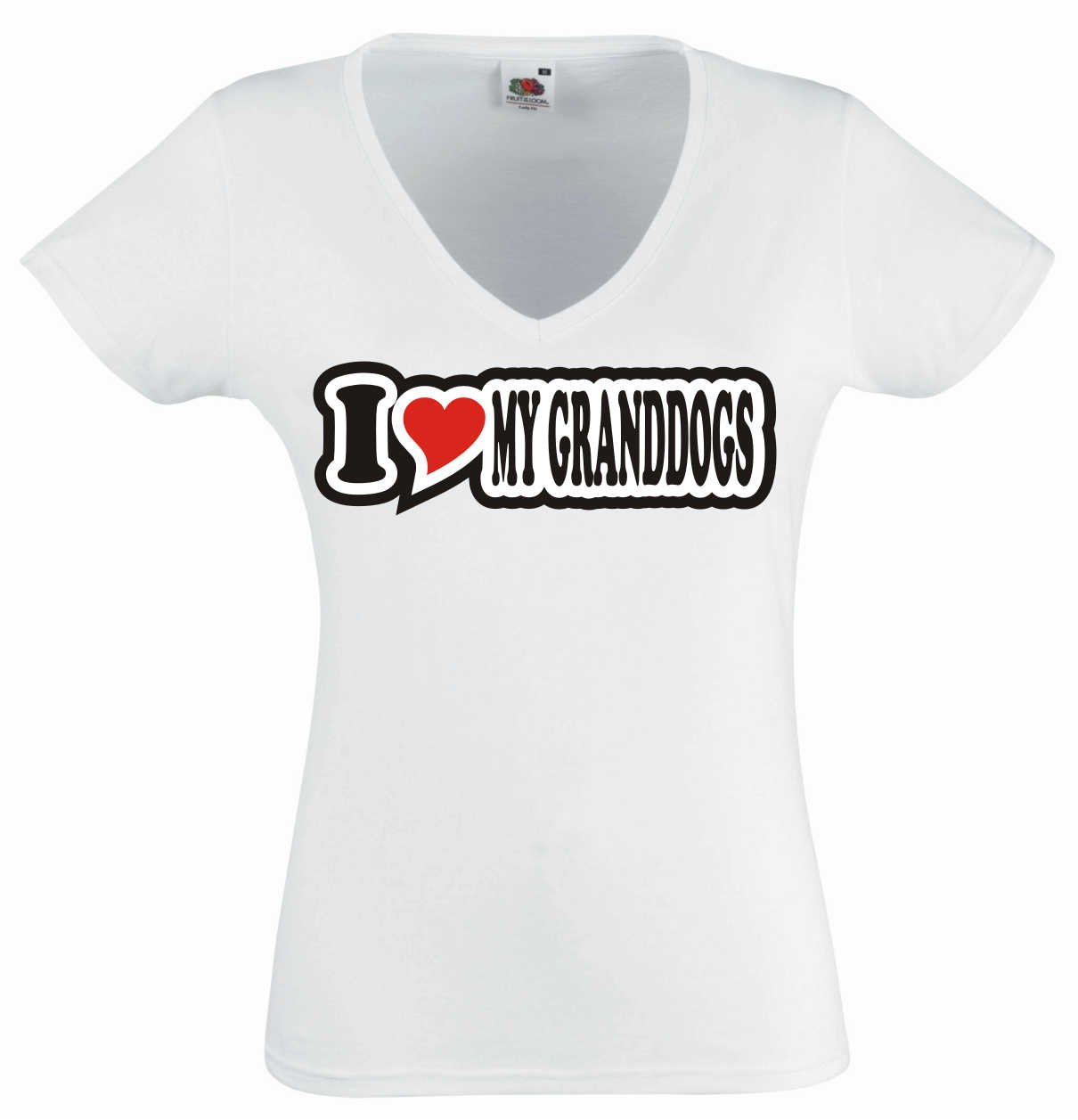 I Love Heart T-Shirt Women V Neck I LOVE MY GRANDDOGS Black Dragon