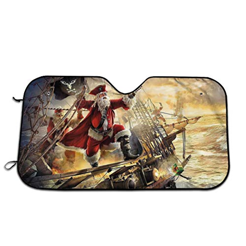 - Pirate Santa Claus Car Sunshade 51.2 * 27.5 in Oxford Cloth + Pearl Aluminum Film Heat Resistant, Effectively Protect Your Car Interior from Aging