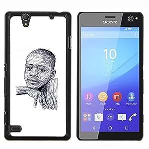 Dragon Case - FOR Sony Xperia C4 - black boy African American white sketch - Caja protectora de pl??stico duro de la cubierta Dise?¡Ào Slim Fit