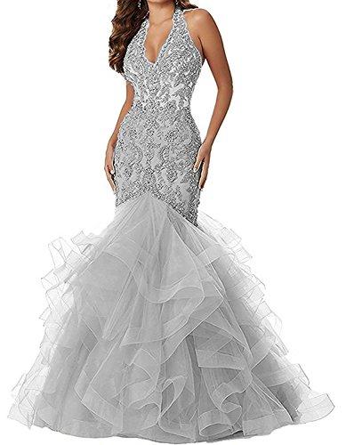 Women's V Neck Applique Beaded Mermaid Prom Dress Halter Formal Gown ()