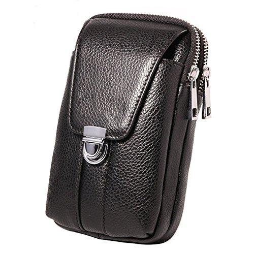 KUAISUF Genuine Leather Men Waist Hook Bag Belt Small Money Cell/Mobile Phone Cigarette Case Purse Pouch Male Pack Black L by KUAISUF