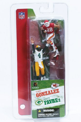 Mcfarlane Nfl Sports Picks - BRETT FAVRE / GREEN BAY PACKERS & TONY GONZALEZ / KANSAS CITY CHIEFS * 3 INCH * McFarlane's NFL Sports Picks Series 2 Mini Figure 2-Pack
