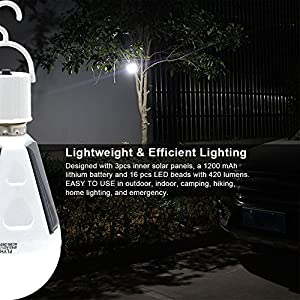 2 Pack Solar Power Light Bulbs, LED Emergency Lamp for Outdoor, Camping, Hurricanes, Outages - Waterproof IP44, White