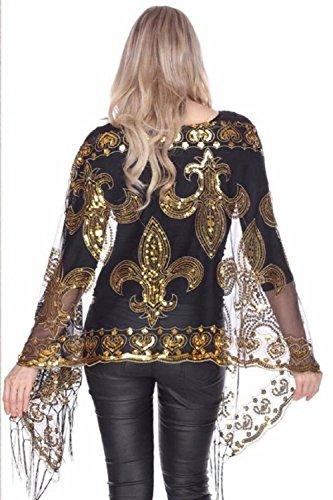 Black & Gold Fleur De Lis Sequined Shawl scarf New Orleans Saints Mardi Gras Table Runner (Hiend Accents Fleur De Lis Quilt Set)