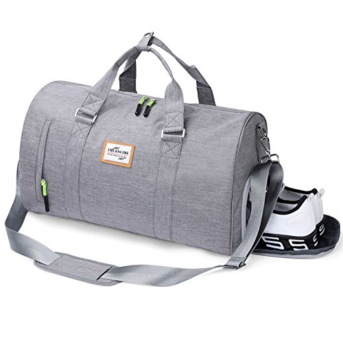 Rocoke Travel Duffel Bag Large Luggage Sports Gym Portable Weekend Bag with Shoe Bag (Grey) For Sale
