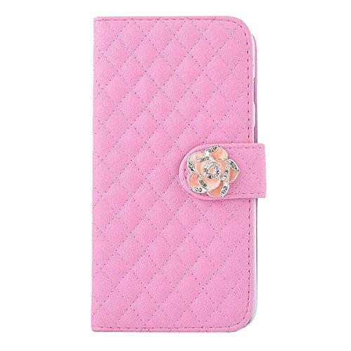 Cubierta de caja - TOOGOO(R) 3 en 1 conjunto de accesorios de multiples funciones de cuero sintetico caso protector de tiron de ranura de tarjeta de color rosado para Smartphone iPhone 5/5S