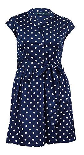 RALPH LAUREN Lauren Women's Polka Dot Sateen Dress (14, (Navy White Polka Dot Dress)