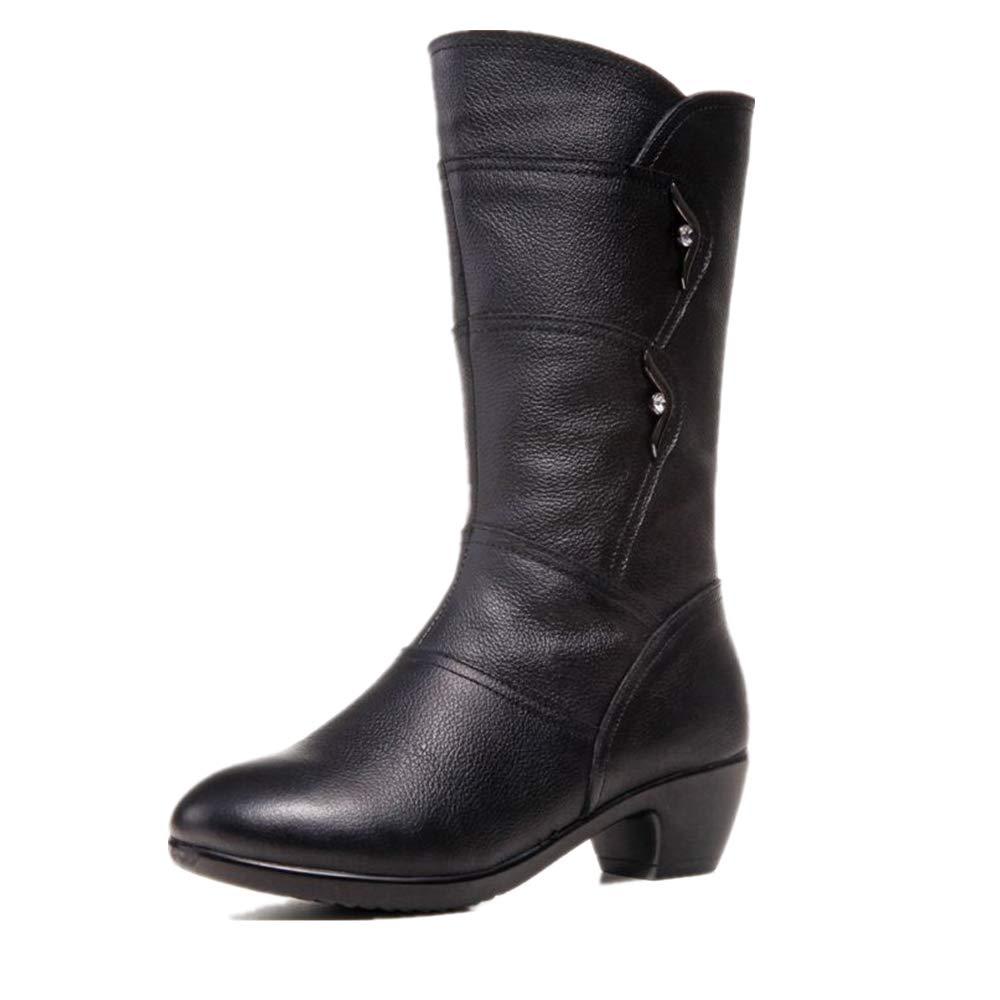 Fuxitoggo Frauen große Größe Stiefel Mitte Kalb Metall Reißverschluss Block Lederschuhe (Farbe   Schwarz Größe   EU 38)