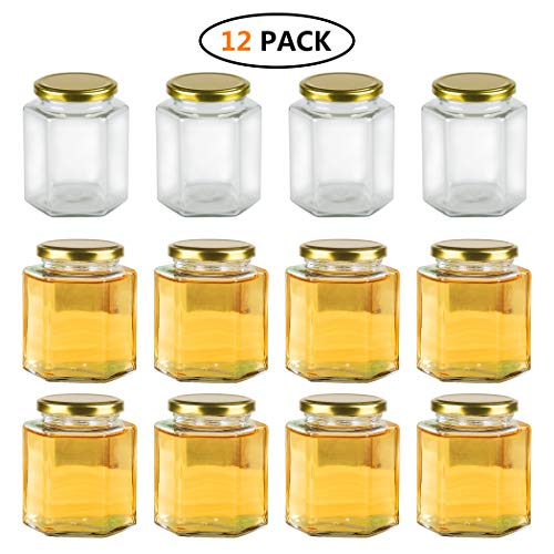 Encheng 16 oz Clear Hexagon Jars,Glass Jars With Lids(Golden),Mason Jars For Herbs,Foods,Jams,Liquid,Small Spice Jars For Storage 12 Pack ()