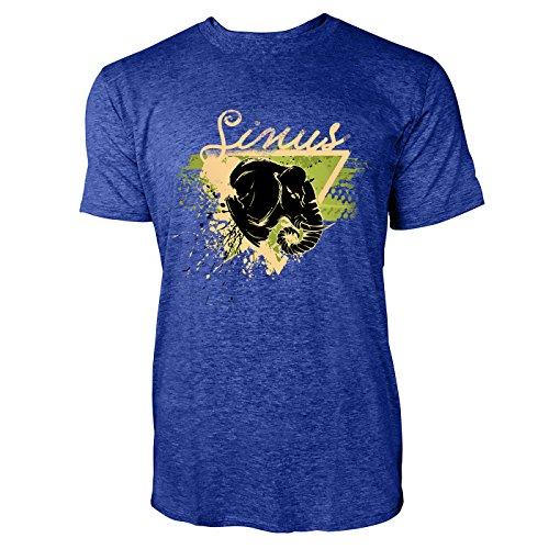 SINUS ART ® Elefantenkopf im Street Style Herren T-Shirts in Vintage Blau Cooles Fun Shirt mit tollen Aufdruck