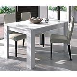 Habitdesign - Mesa de comedor extensible de 140 a 190 cm, color blanco brillo, dimensiones cerrada 90 ancho x 140 largo x 78 altura