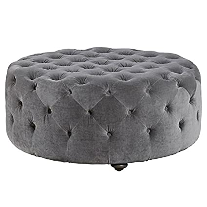 Phenomenal Amazon Com Maklaine Velvet Tufted Round Ottoman In Gray Andrewgaddart Wooden Chair Designs For Living Room Andrewgaddartcom