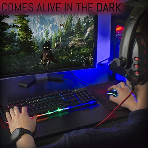 Gaming Keyboard and Mouse and Mouse pad and Gaming Headset, Wired LED RGB Backlight Bundle for PC Gamers and Xbox and PS4 Users - 4 in 1 Gift Box Edition Hornet RX-250 14
