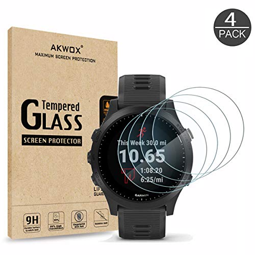 (Pack of 4) Tempered Glass Screen Protector for Garmin Forerunner 945, Akwox [0.3mm 2.5D High Definition 9H] Premium Clear Screen Protector for Garmin Forerunner 945