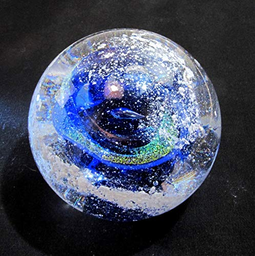Cremation Ash Memorial Glass BLUE Nebula Swirl Orb - Art Glass Cremains - Keepsake Glass Paperweight