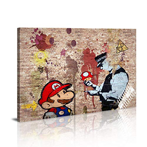 Canvas Prints Framed Wall Art Banksy Art Wall Art for Bedroom Artwork Colorful Figure Street Graffiti Wall Decor Pics for Living Room Decor Ready to - Framed Street Canvas