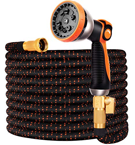 Garden Hose Flexible Car Wash Water Hose – Super Durable 3750D,4-Layers Latex,3/4″ Nozzle Solid Brass Connectors with 10-Way Professional Zinc Water Spray Nozzle,2-Way Pocket Splitter (25 FT, Orange)