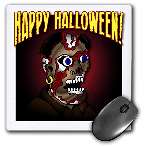 3dRose Mark Grace HALLOWEEN ghoul - GHOUL happy halloween 1 on white with gradient - MousePad -
