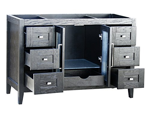 48 Bathroom Vanity Cabinet Black Granite Top Ceramic