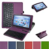 Fire HD 8 6th Generation 2016 Bluetooth Keyboard Case,Mama Mouth Slim Stand PU Leather Cover with Romovable Bluetooth Keyboard for 8'' All-New Amazon Fire HD 8 6th Generation 2016 Tablet,Purple