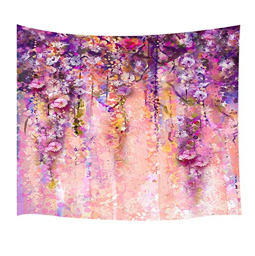 DYNH Floral Tapestry, Pink and Violet Color Flowers Wisteria Tree in Blossom with Bokeh Light Purple, Tapestries Wall Hanging Blankets Home Decor for Bedroom Living Room Dorm, 60X40 Inches