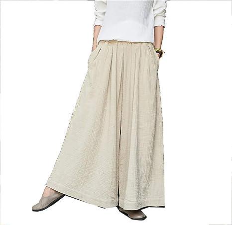 CHLXI Pantalones Kung Fu,Tai Chi Pantalón Falda Larga de ...