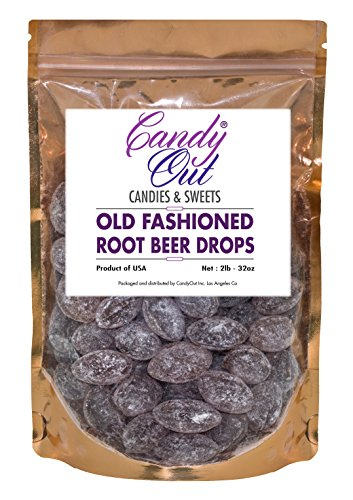 Root Beer Drops 2 Pounds Old Fashioned Hard Candy in CandyOut Sealed Stand Up Bag