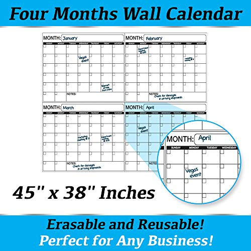 Jumbo Laminated Dry Erase or Wet Erase 4 Month Quarterly Wall Calendar 38 x 45 inches Large Daily squares to plan your whole day or month Perfect for Office, College, Home, and Schools ()