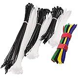 220 Pcs Multi-Purpose Cable Ties, SENHAI 200 Pcs Plastic Wire Straps with Self-Locking & 20 Pcs Nylon 5 Colors Self-Adhesive Cord Fastening Management, 6/7/8/12inch - Black & White
