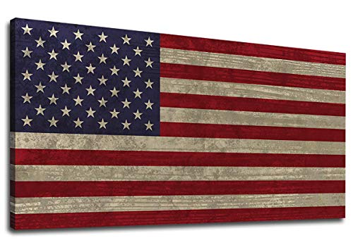 Canvas Wall Art Vintage The Stars and The Stripes Contemporary Artwork Retro Rustic American National Flag Picture for Living Room Bedroom Office Wall Decor Large Canvas Painting Prints 20