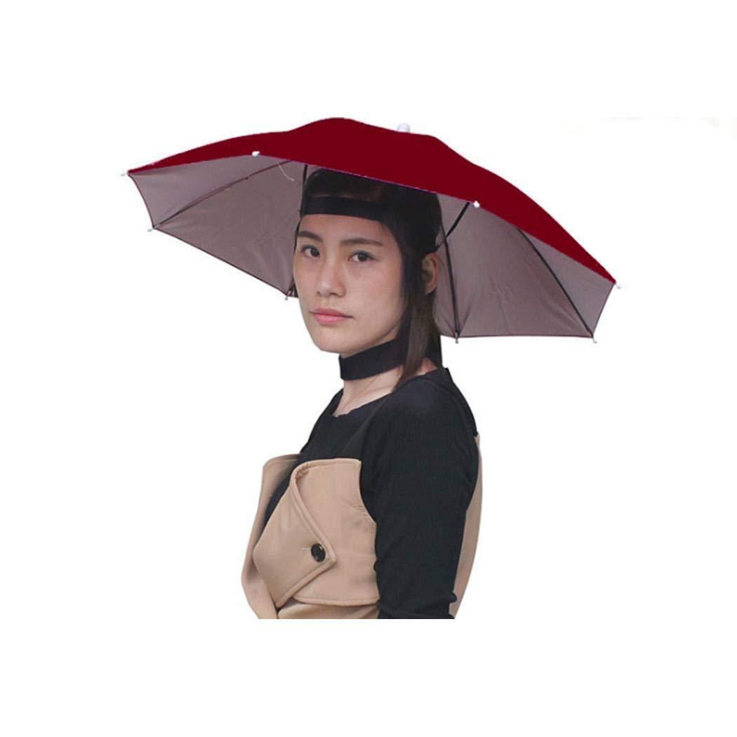 Whatyiu UV Protection Waterproof Headwear Umbrella Hat Elastic Headband Sun Rain Cap for Gardening Beach Party