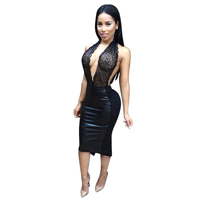1c25db0ec4 SODIAL(R) Western Style Women Dress Sleeveless Sexy Dresses For Ladies  Womens Sexy Dresses Party Night Club Dress (BLACK,M): Amazon.co.uk: Clothing