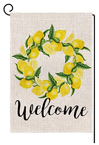 Welcome Lemon Wreath Small Garden Flag Vertical Double