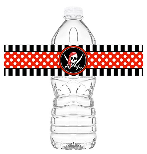 POP parties Pirate Bottle Wraps - 20 Pirate Water Bottle Labels - Pirate Decorations - Made in The USA -