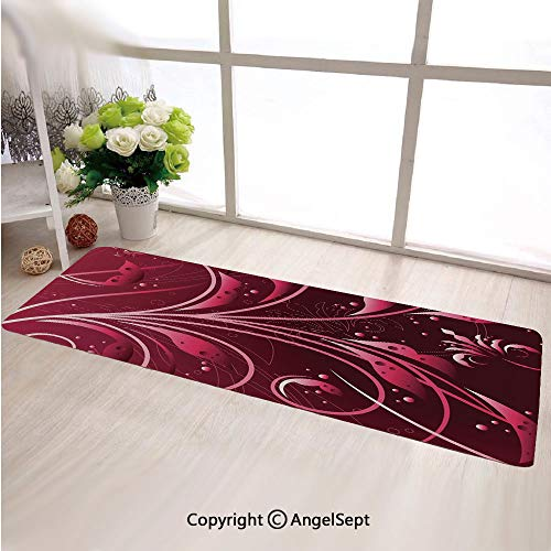 Super Soft Indoor Modern Long Carpet,Modern Japanese Artwork Flower Abstraction Petals Dots Swirls Graphic Plant Maroon Dark Maroon,For Dining Room Home Bedroom Carpet Floor Mat