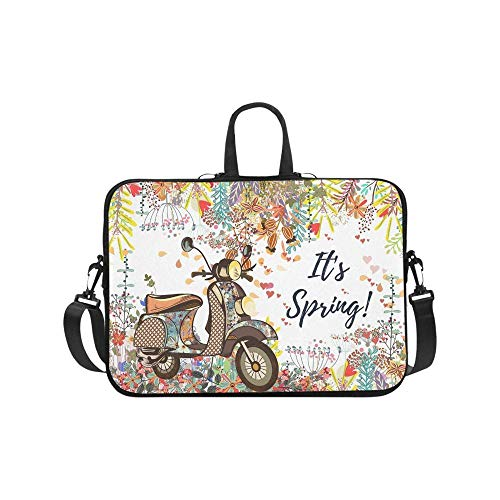 Beautiful Fashion Spring Flowers and Motobike Waterproof Neoprene 17 17.3 Inch Laptop Sleeve Case Shoulder Bag with Handle & Strap for Dell HP Thinkpad Acer Woman Man