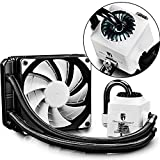 DEEPCOOL Gamer Storm Captain 120 White AIO Liquid CPU Cooler, 120mm Radiator, 120mm White PWM Fan, White LED Waterblock, AM4 Compatible, 3-Year Warranty
