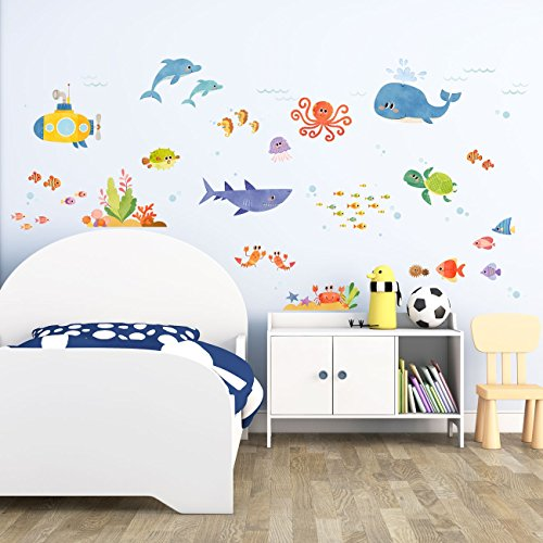Decowall DW-1611S Sea Adventure Kids Wall Stickers Wall Decals Peel and Stick Removable Wall Stickers for Kids Nursery Bedroom Living Room by Decowall