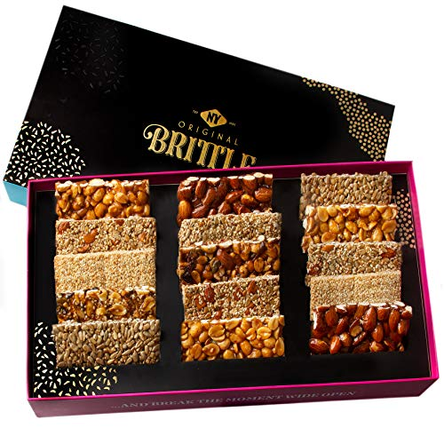 NY Original Brittle Christmas Candy Nuts Gift Basket, 8 Variety Gourmet Holiday Treats Mixed Nut Bars, Snacks Food Gifts Sets Prime Baskets For Birthday Men Women Family Valentines Day Box Delivery