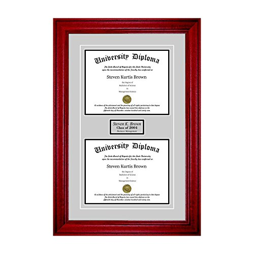 Personalized Double Diploma Frame with Double Matting for 17'' x 14'' Tall Diploma with Cherry 2'' Frame by Perfect Cases (Image #3)