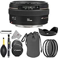 Canon EF 50mm f/1.4 USM Lens 2515A003 USA Full Accessory Bundle Package Deal
