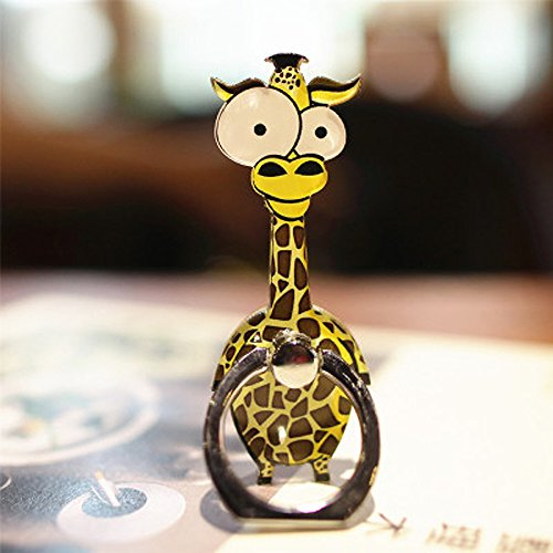 Cell Phone Finger Ring Holder Cute Animal Smartphone Stand 360 Swivel For for Iphone, Ipad, Samsung HTC Nokia Smartphones, Tablet (Giraffe)
