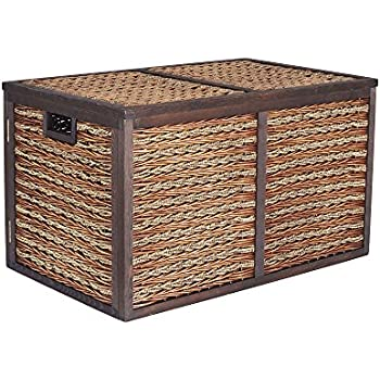 Household Essentials Seagrass Poplar Wicker Storage Chest, Large, Dark Brown