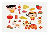Ambesonne Chinese New Year Pet Mat for Food and Water, Joyful Holiday Themed Pattern with Children Animals and Cultural Elements, Rectangle Non-Slip Rubber Mat for Dogs and Cats, Multicolor