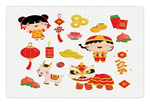 Ambesonne Chinese New Year Pet Mat for Food and Water, Joyful Holiday Themed Pattern with Children Animals and Cultural Elements, Rectangle Non-Slip Rubber Mat for Dogs and Cats, Multicolor by Ambesonne (Image #2)