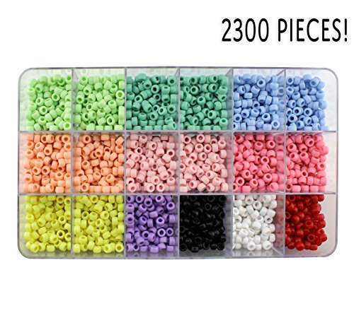 Multi-colored Pony Beads in Storage Box (2300 Pieces); 11-Color Assortment in Sectioned Craft Box w/ Green, Blue, Pink, Yellow, Purple, Black, White, Red Etc.