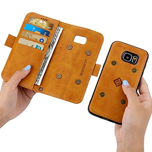 S9 Plus Case Cover, Galaxy S9 Plus Cover,6.2 inch Stand PU Leather Phone Case,Sammid Removable Case with Hand Strap for Sasmsung Galaxy S9 Plus - Light Brown