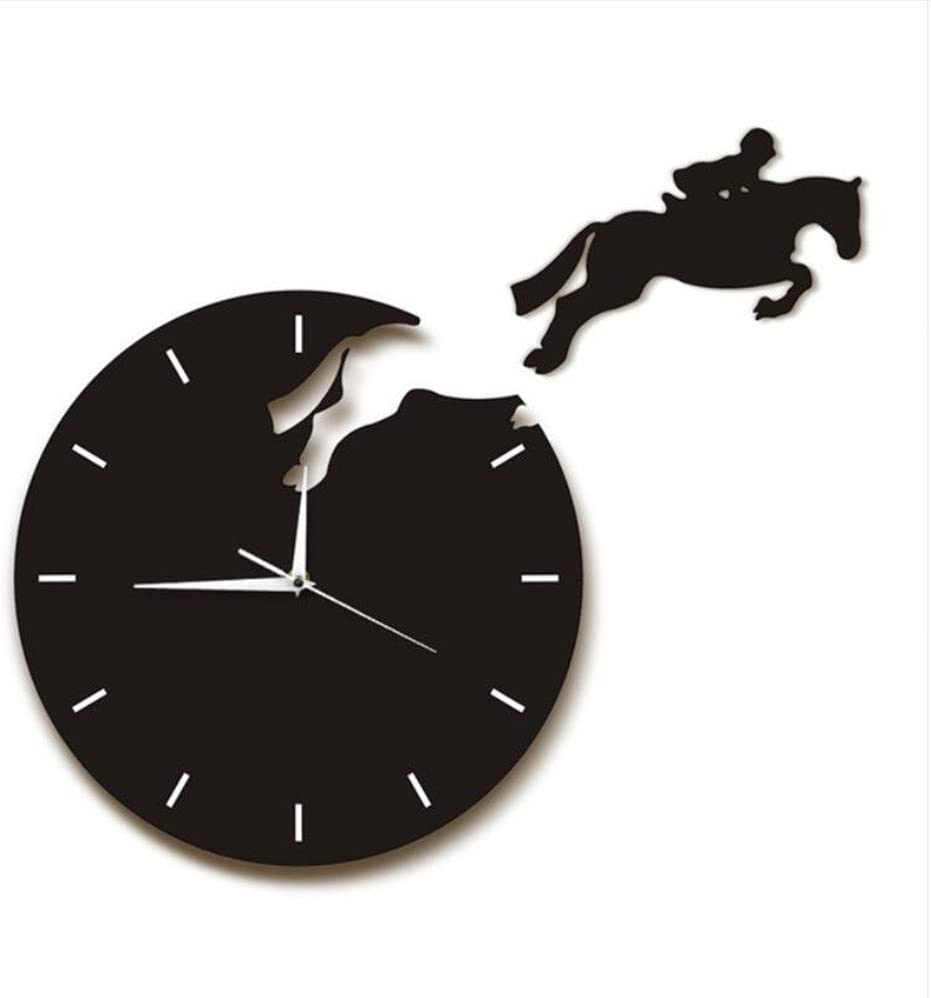 Shuangklei Wall Clock Modern Design Wall Watch Rider On Horseback Jumping Horse Equestrian Home Decor