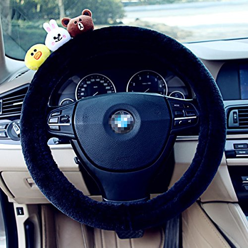 Cute Lovely Plush Car Auto Steering Wheel Cover Case by Lindas Shop (Style - Lindas Shop Flower